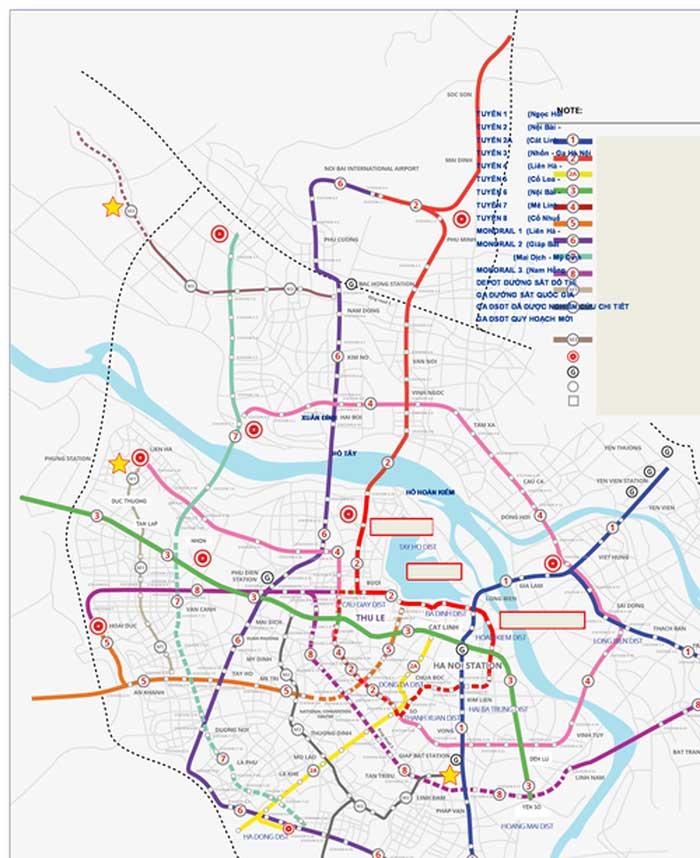 Đại gia đầu tư 3 tuyến đường sắt Hà Nội - Quy hoạch mạng lưới đường sắt đô thị Hà Nội