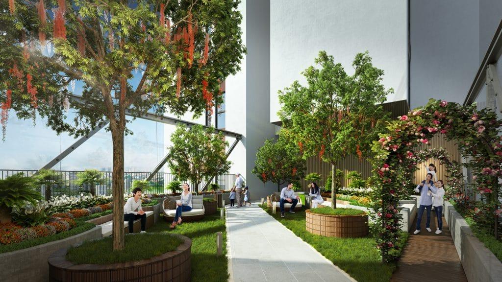 Không gian xanh tại tầng 5 chung cư cư Terra An Hưng